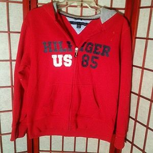 GUC Tommy Hilfiger red hoodie, large juniors